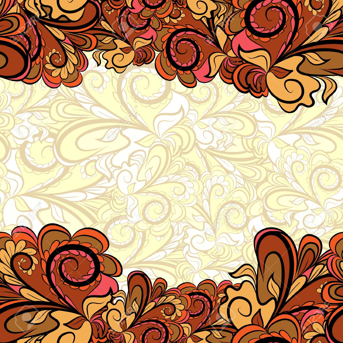 Abstract Gold Brown Borders With Light Beige Background Pattern
