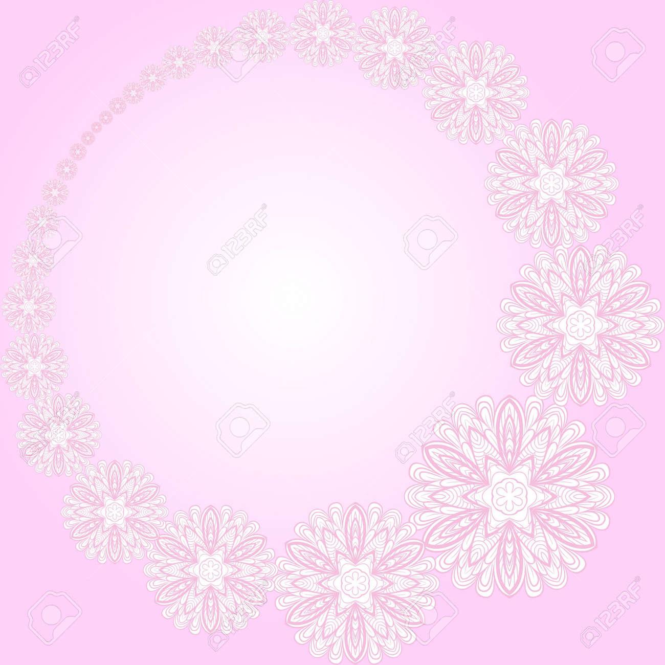 Resumen Marco Redondo De Color Rosa Con Flores. Patrón Se Puede ...