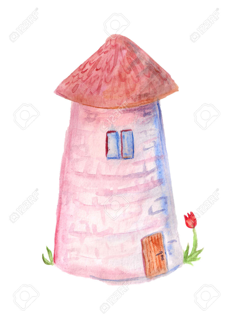 Watercolor Image Of Pink House Like As Tower On White Background ...