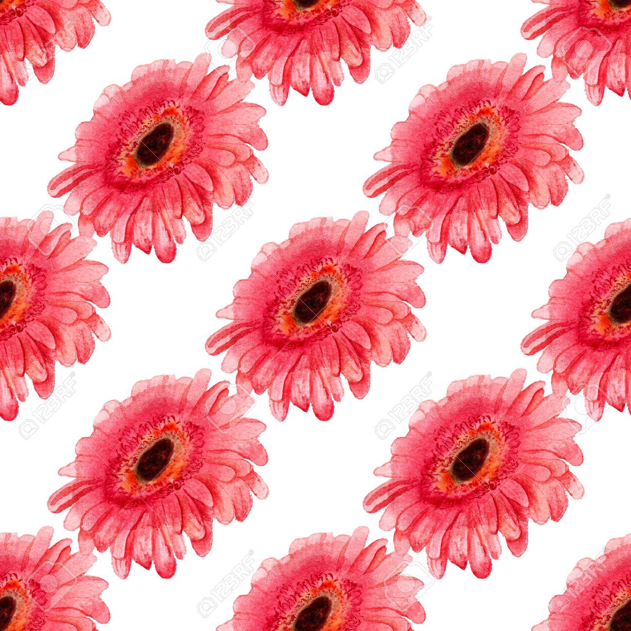ガーベラの花の水彩画のイメージとのシームレスなパターン