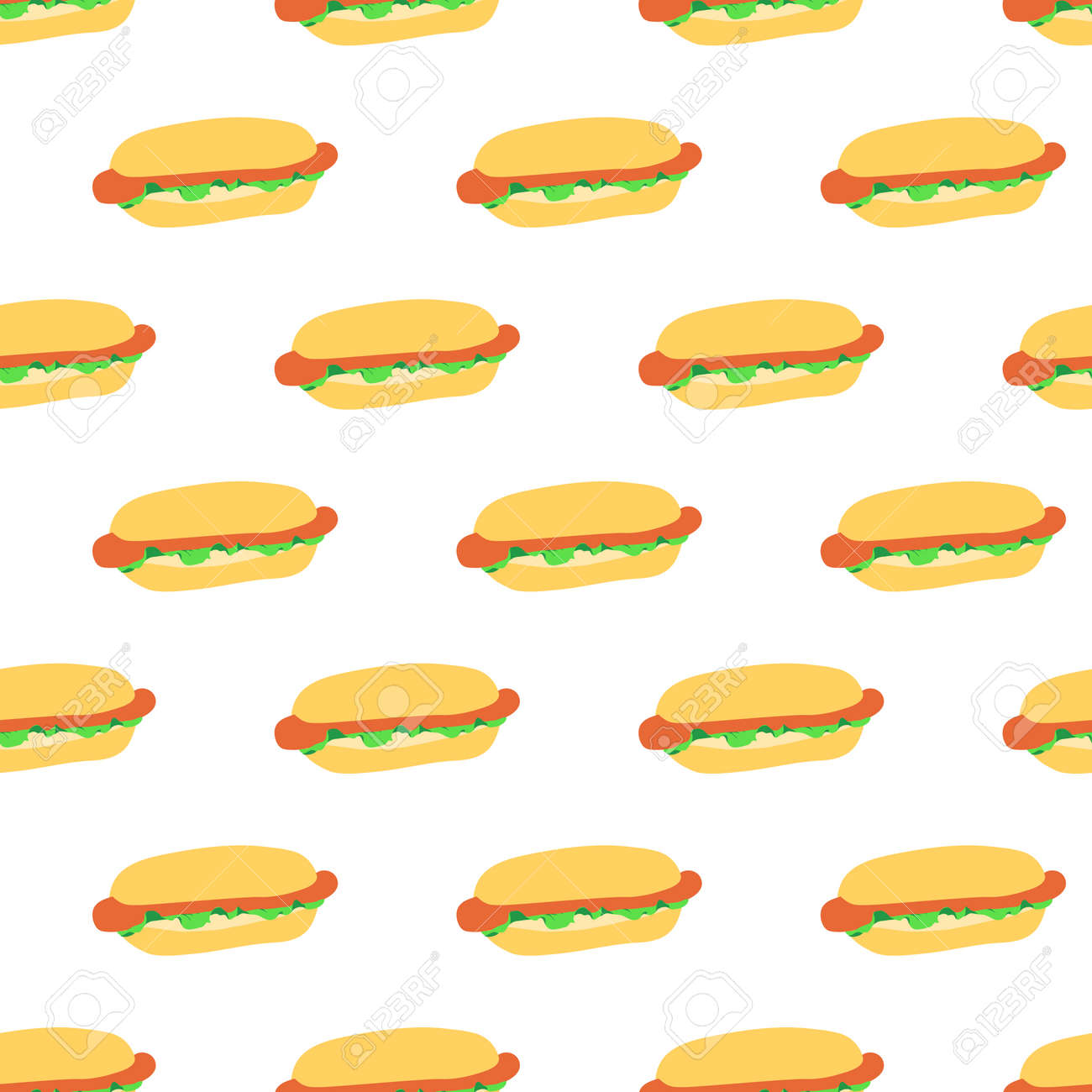 Seamless Pattern With Hot Dogs On White Background Good Design