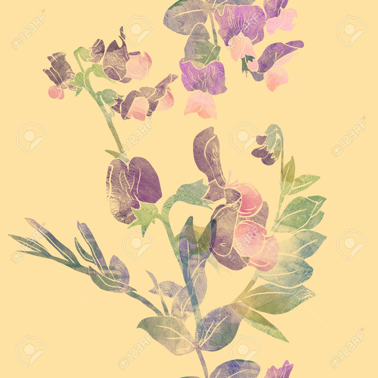 Vertical Seamless Stripe With Vetch Flowers Good Idea For Floral