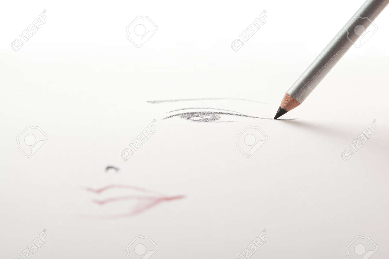 A make up sketch drawn on white paper with a black eye liner