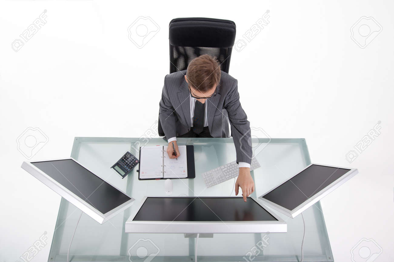 buisiness man at his office upper shot Stock Photo - 10963943
