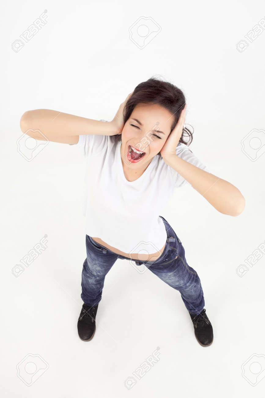 shot from above of a young woman screaming Stock Photo - 9881678