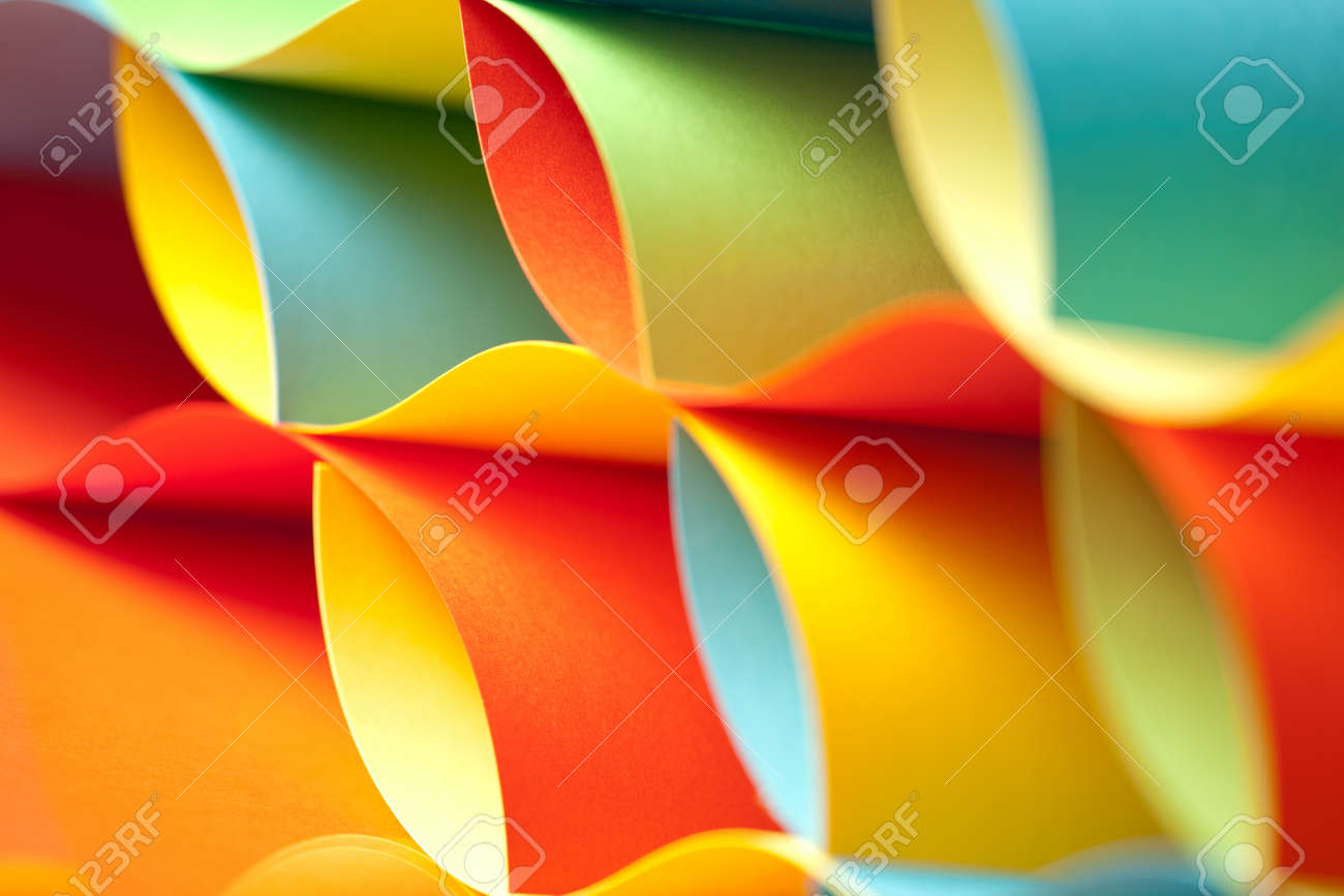 graphic abstract image of colorful origami pattern made of curved sheets of paper Stock Photo - 11986208