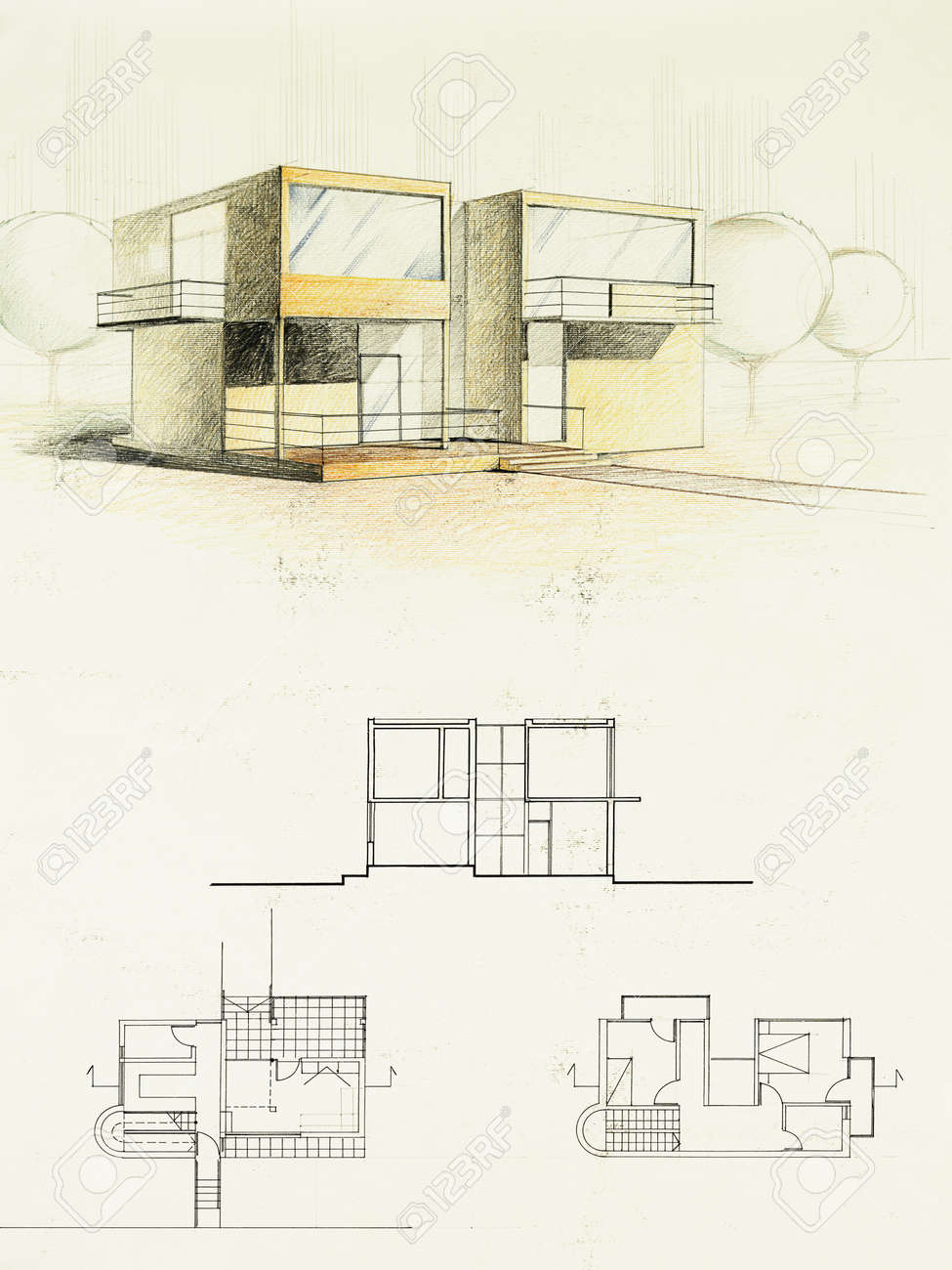 modern home architecture blueprints. Perfect Blueprints Colored Architectural Blueprint Of Modern House Drawn By Hand Stock Photo   13342737 To Modern Home Architecture Blueprints