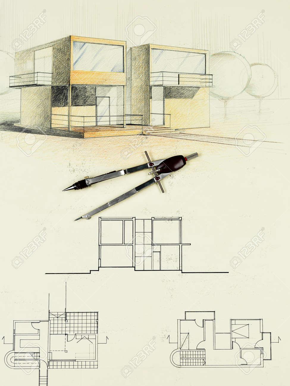 Couleur Plan Architectural De La Maison Moderne Dessiné à La Main Avec Compas