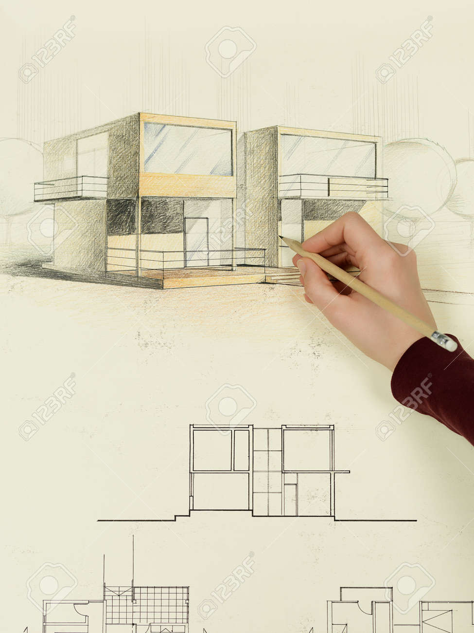 Modern Architecture Perspective woman's hand drawing architectural perspective of modern house