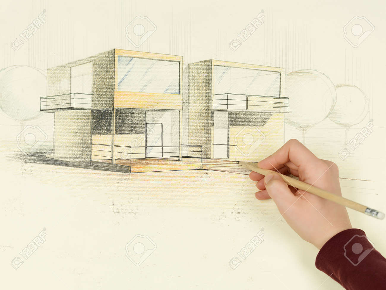 woman's hand drawing architectural perspective of modern house Stock Photo - 13342734