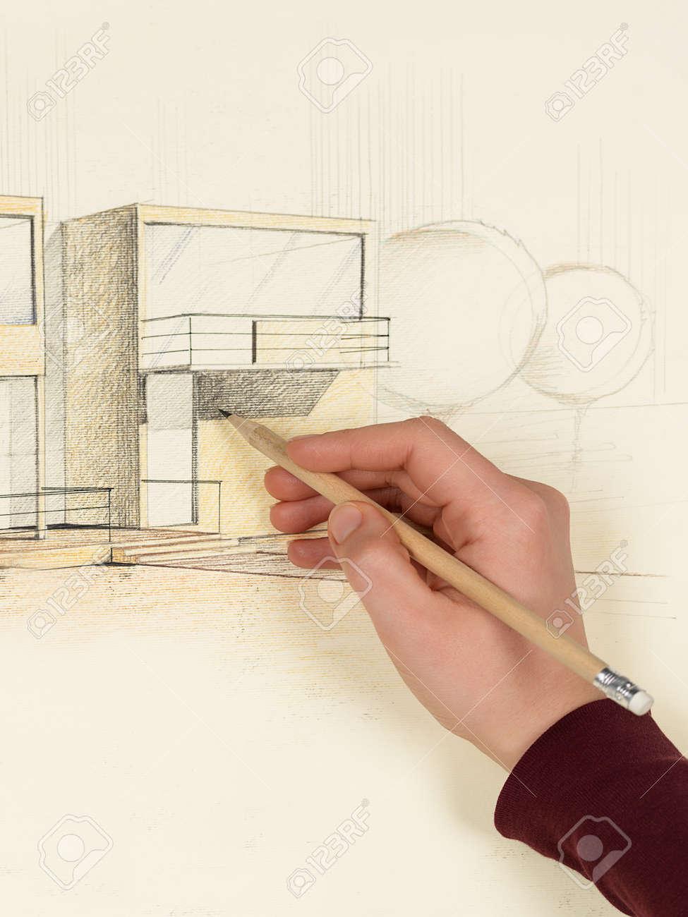 Femme En Perspective La Main Dessin D\'architecture De La Maison ...