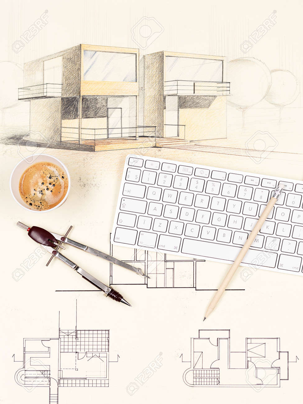 ^ rchitectural Blueprint Of Modern House, With omputer Keyboard ...