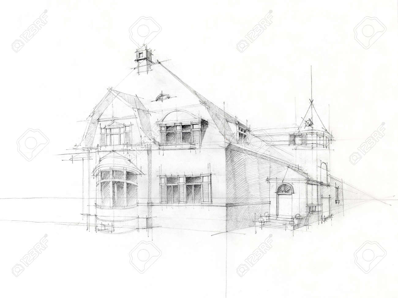 black and white architectural perspective of old house, drawn by hand Stock Photo - 13342724