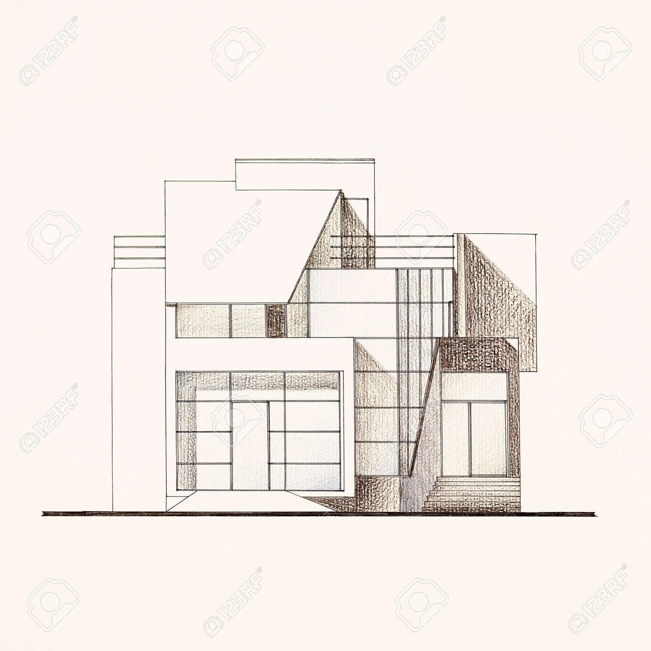 Couleur Du Modèle Architectural Façade De La Maison Moderne Dessiné à La Main