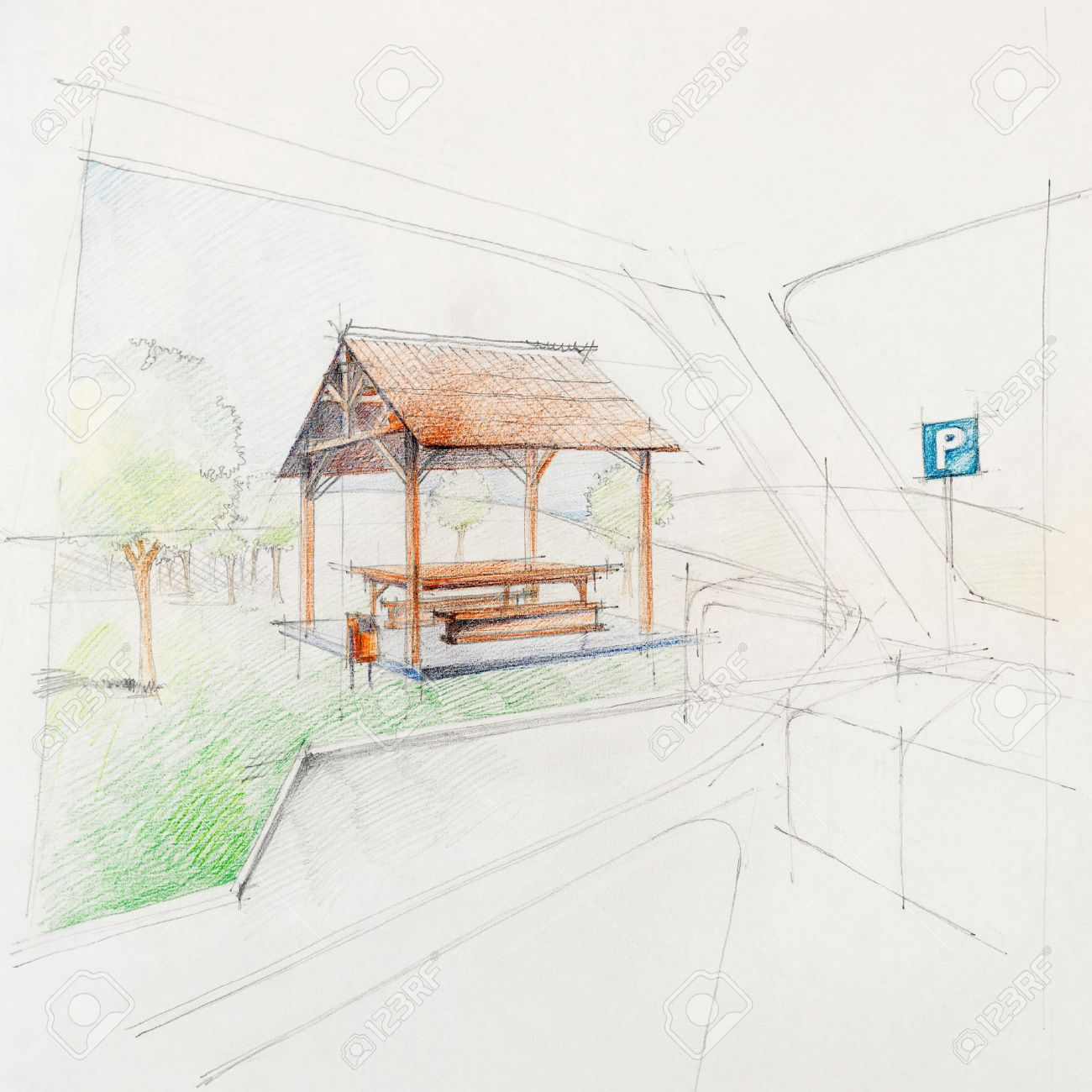 Colored Architectural Sketch Of A Car Park Rest Place, Drawn ...