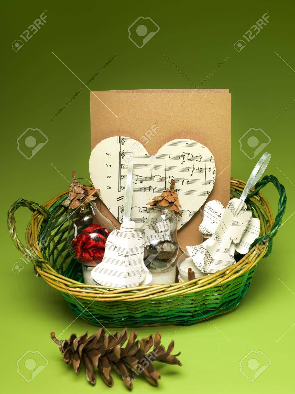 Closeup Of Gift Basket With Christmas Decorations Made Out Of