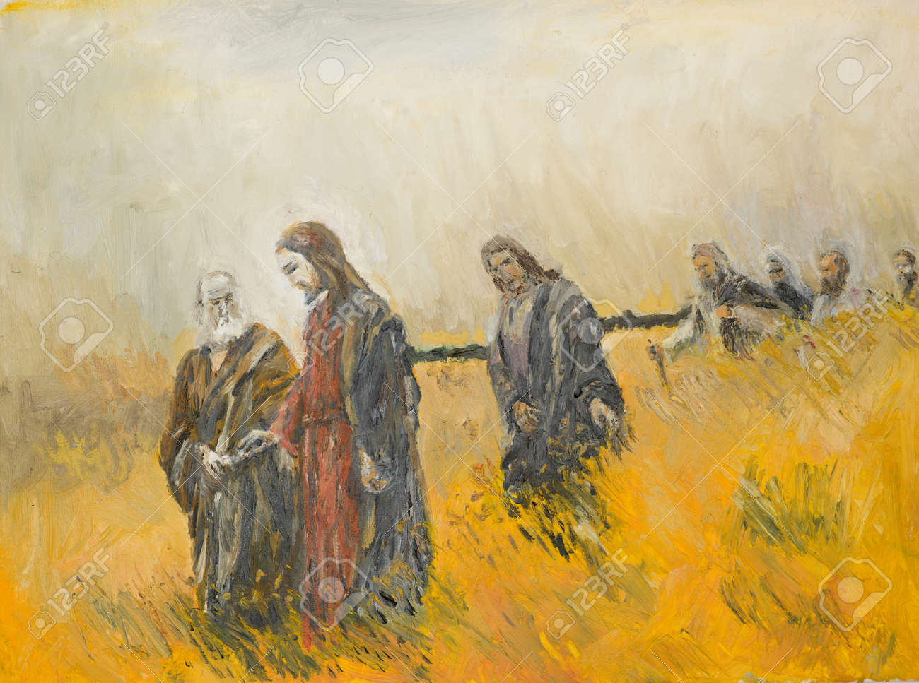 Oil Painting Illustrating A Religious Scene Jesus Christ And