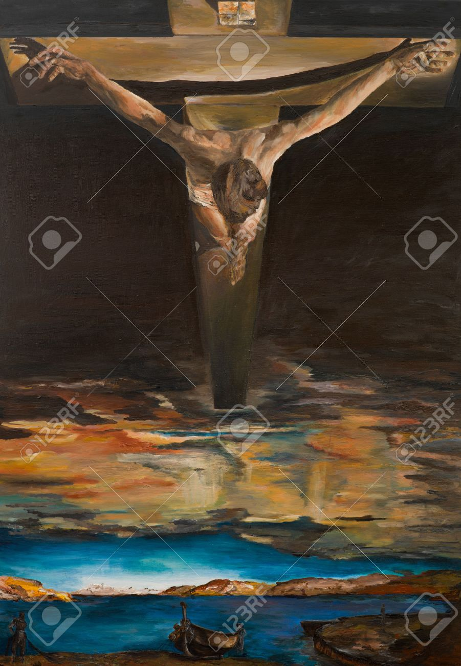 replica of one of salvador dalis painting christ of saint john of the cross
