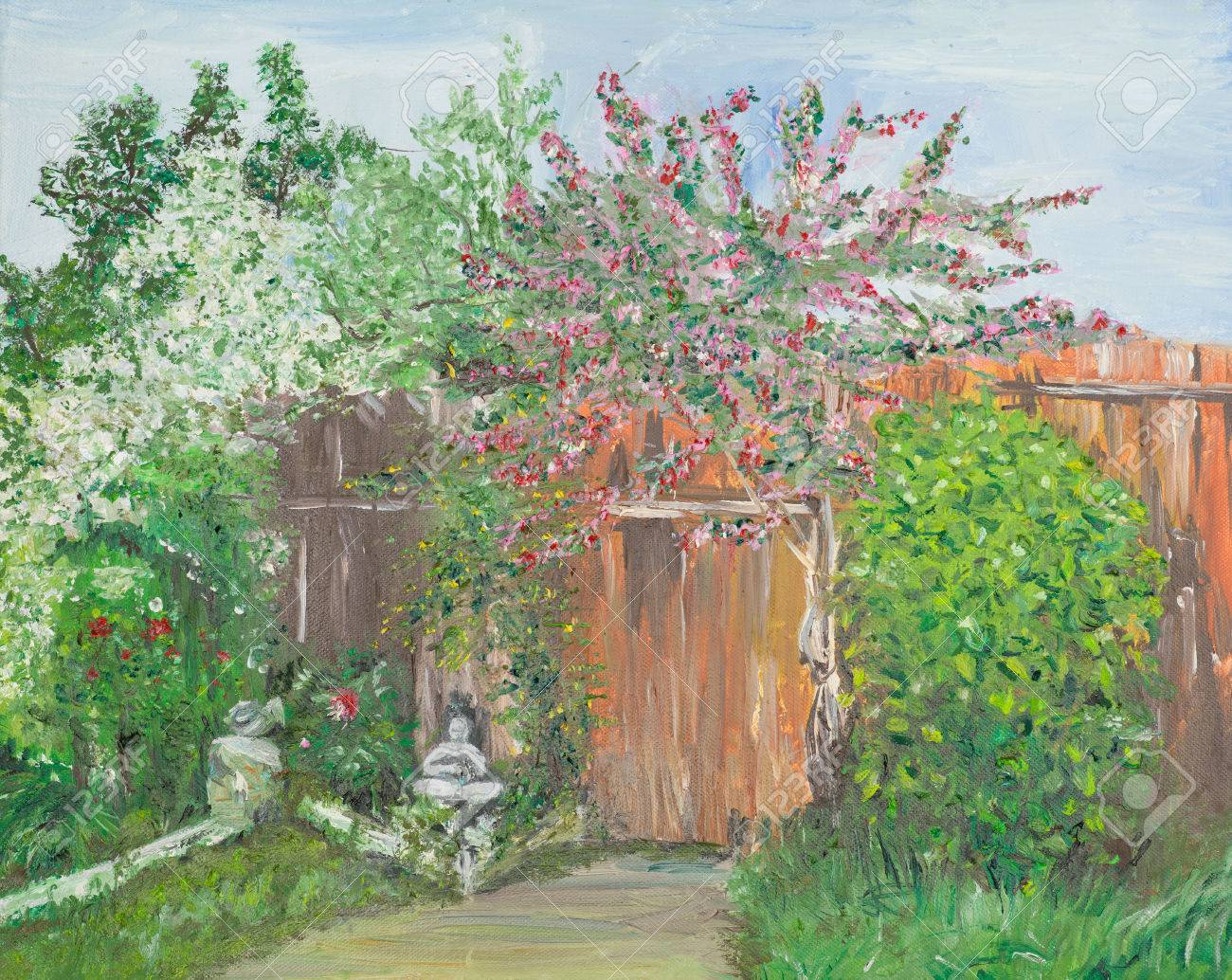 Oil Painting Illustrating A Backyard With Blossomed Trees And ...