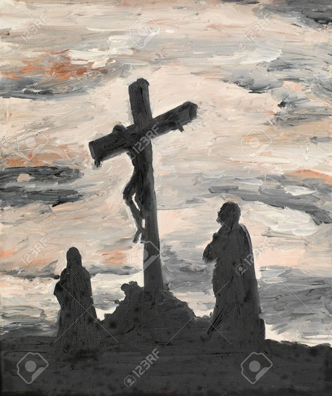 oil painting illustrating religious scene jesus crucified stock