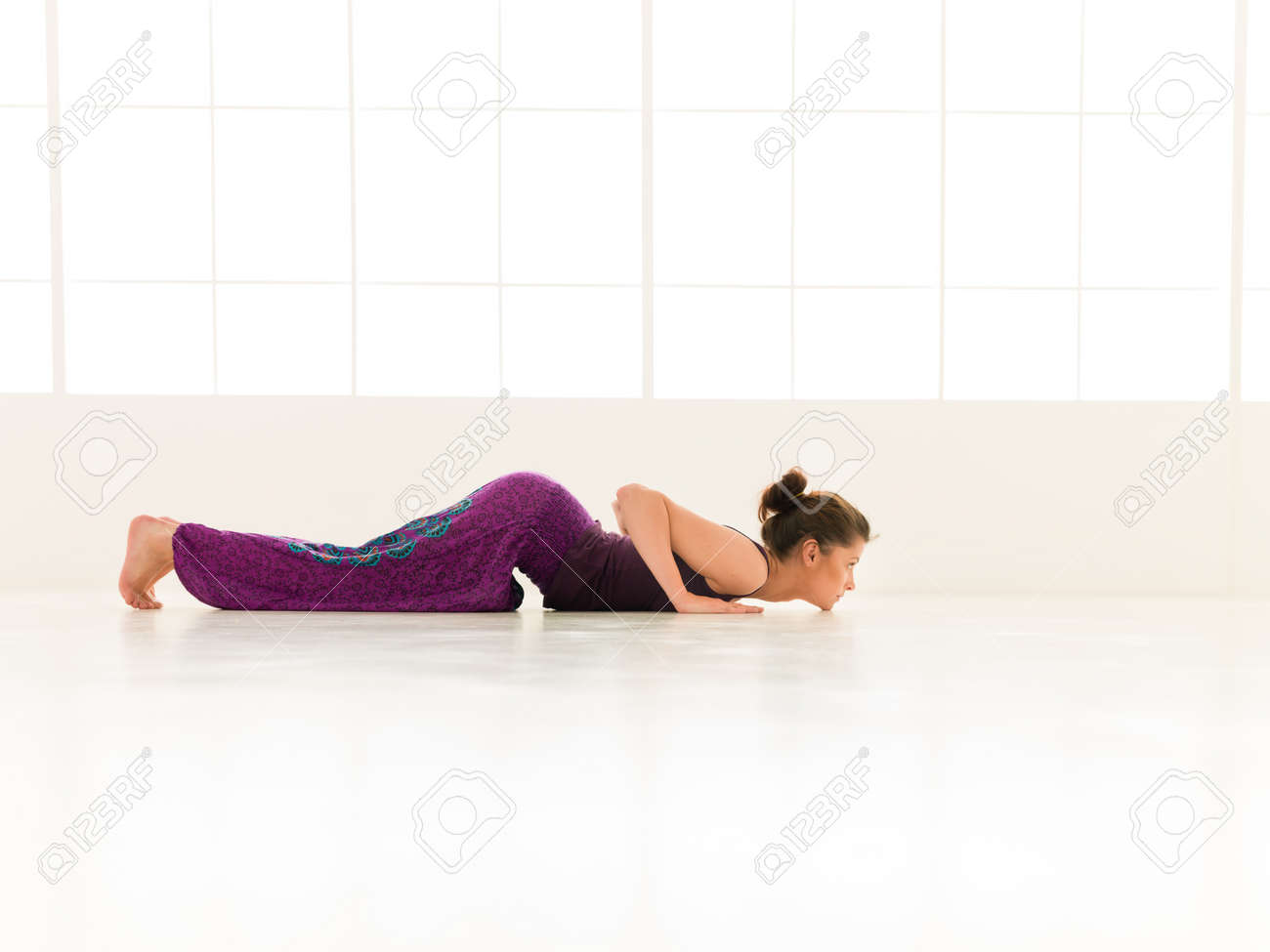Young Girl Demonstrating Advanced Yoga Pose Full Body View Stock