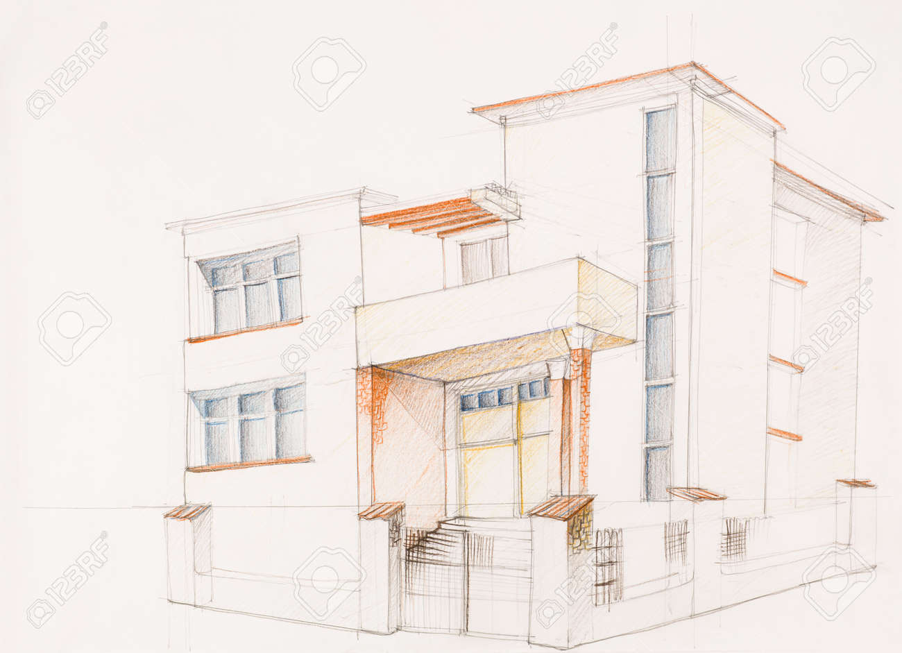 rchitectural Perspective Of Modern House, Drawn By Hand Stock ... - ^