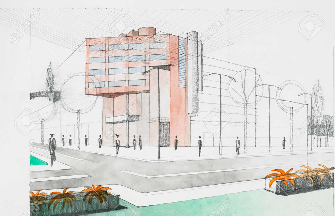 Modern Architecture Perspective hand drawing architectural perspective of modern building, street