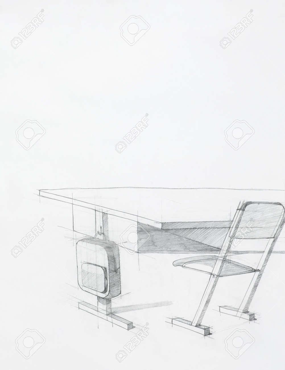 Schreibtisch gezeichnet  Hand Gezeichnete Skizze Der Schule Schreibtisch Und Stuhl ...