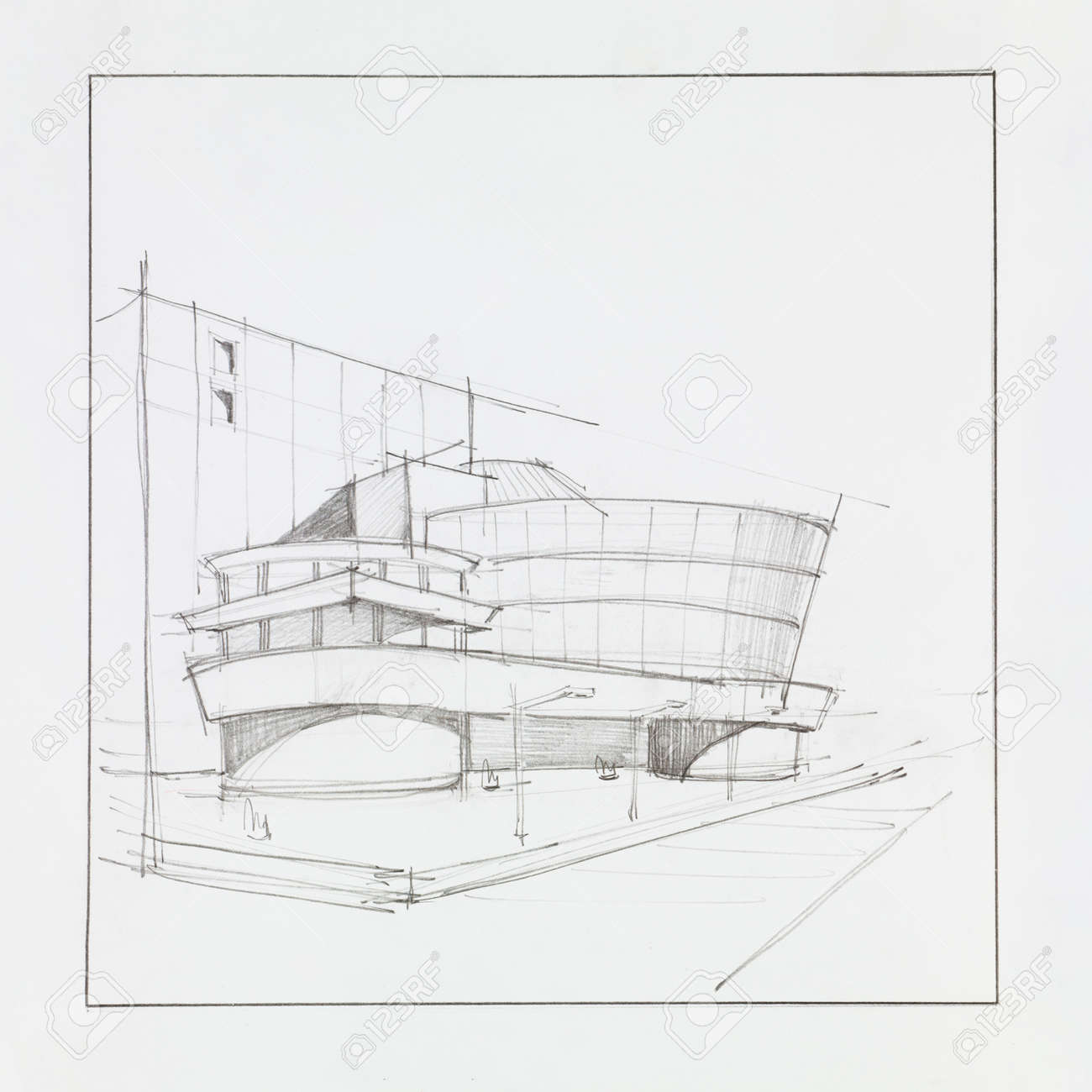 Modern Architecture Perspective hand drawn architectural perspective of modern office building