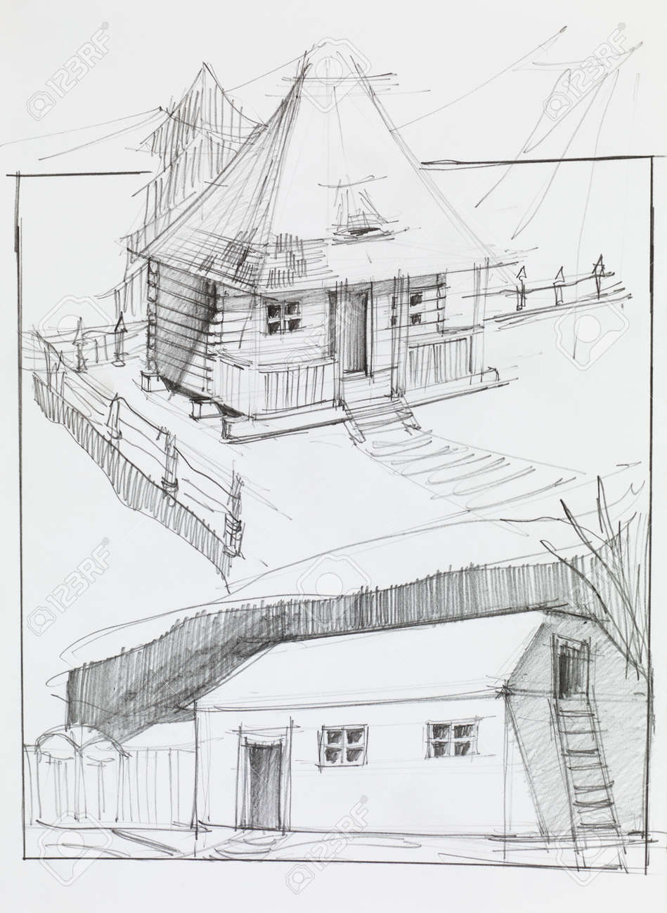 Hand drawn pencil sketch of an old country house and barn stock photo 31580373