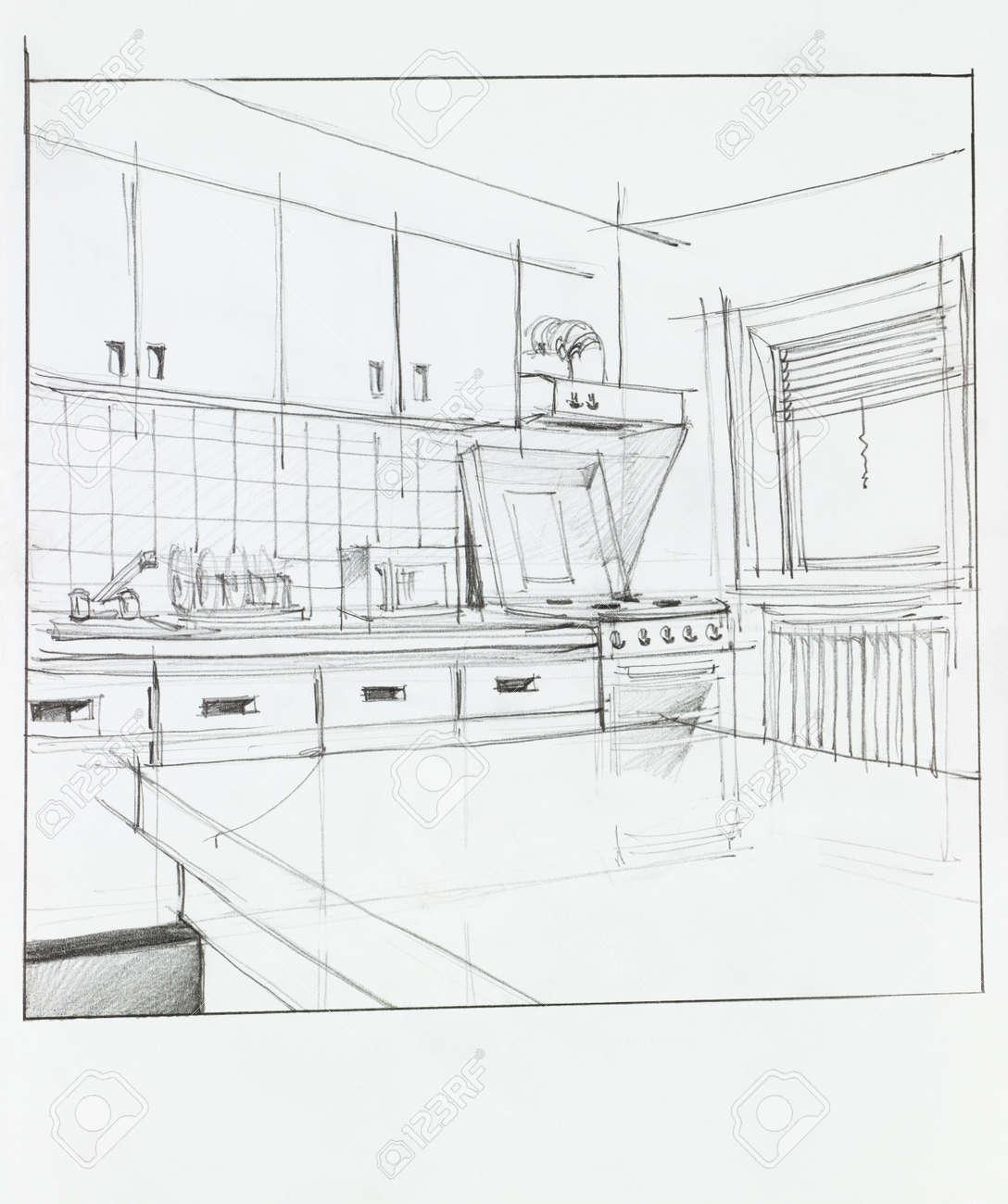archivio fotografico mano interior prospettiva di cucina disegnato