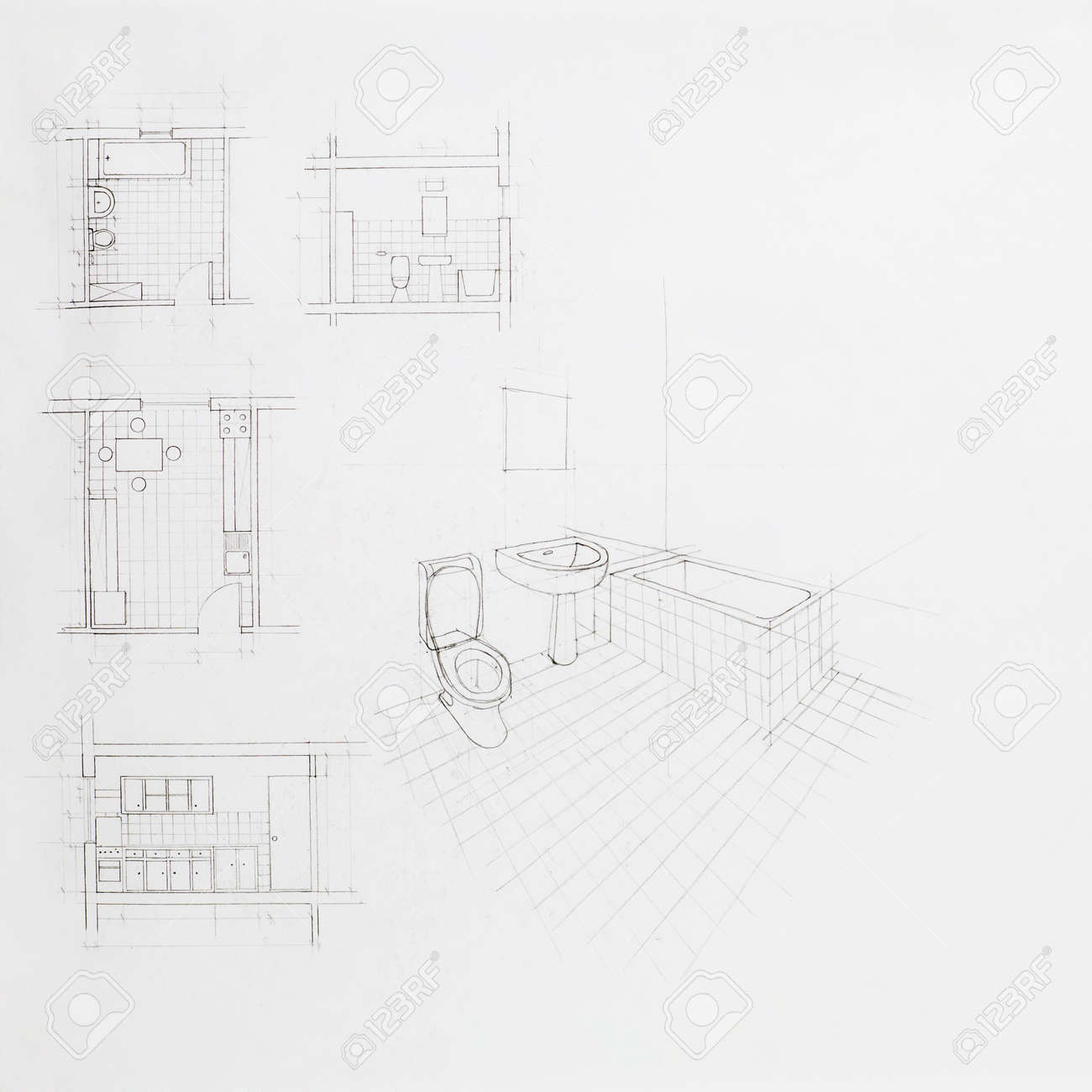 Bathroom perspective drawing - Stock Photo Hand Drawn Architectural Perspective Of An Apartment Bathroom And Blueprint Of Other Rooms