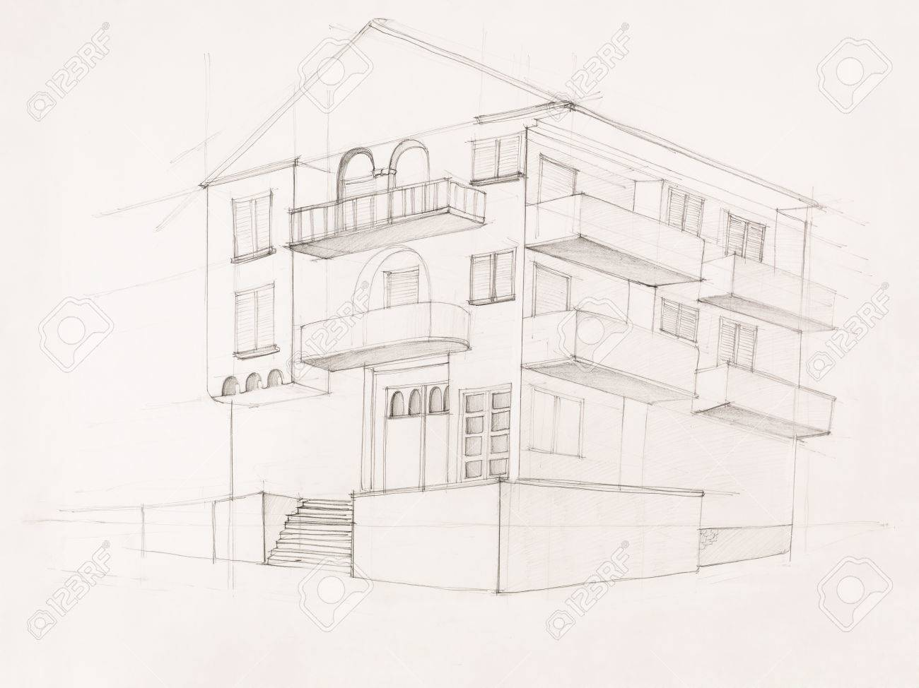 Modern Architecture Perspective architectural perspective of modern house, hand drawn stock photo