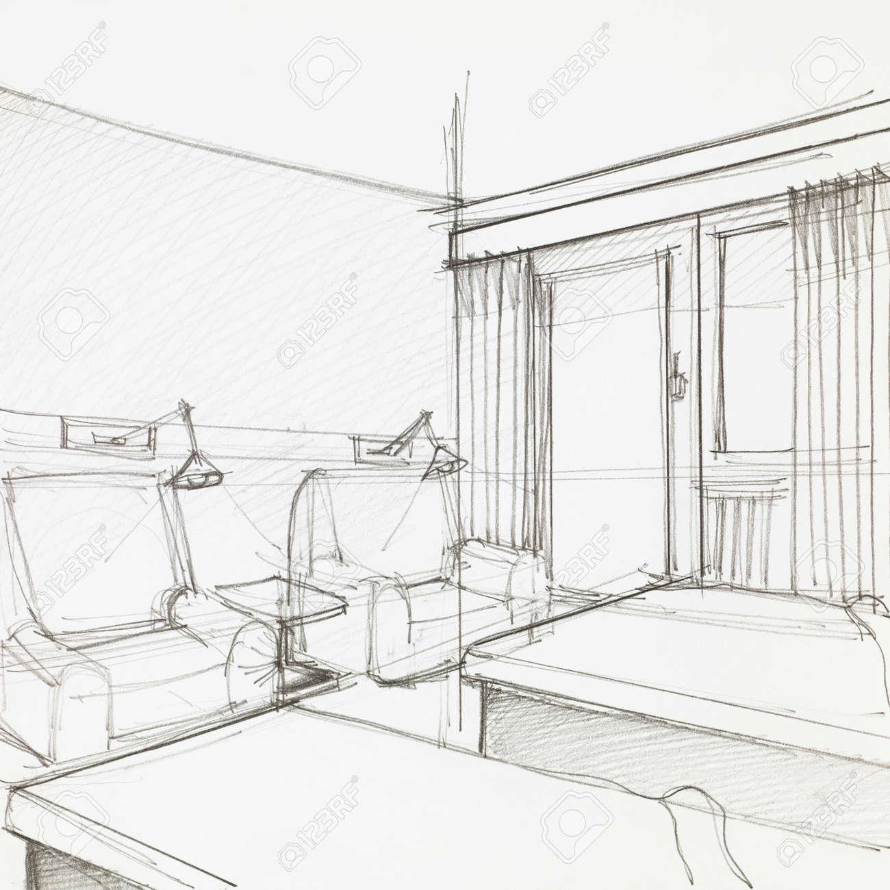 Dessin Graphique De Chambre D\'hôtel Avec Deux Fauteuils Et Lits ...