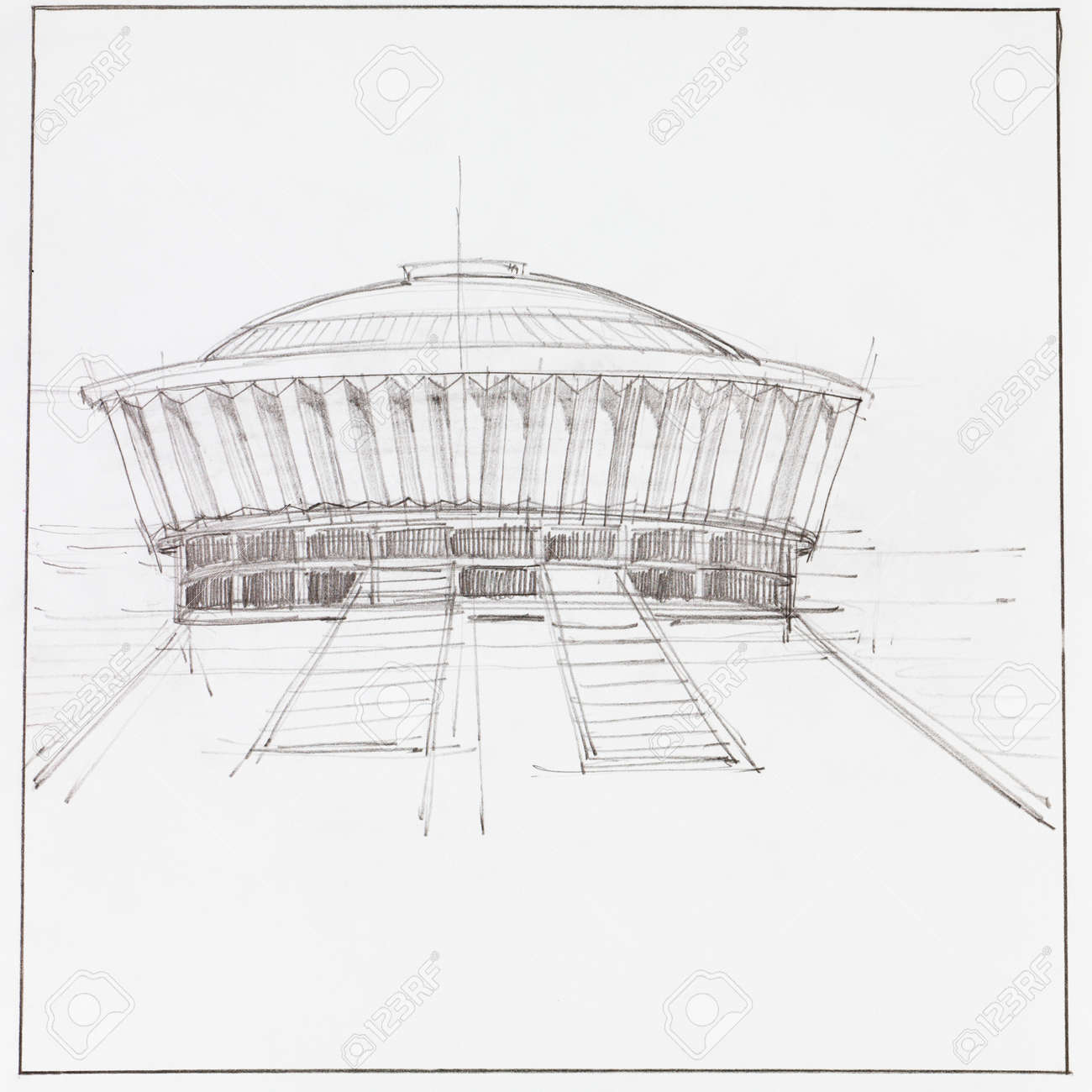 Modern Architecture Drawing hand drawn architectural drawing of modern pavillion building