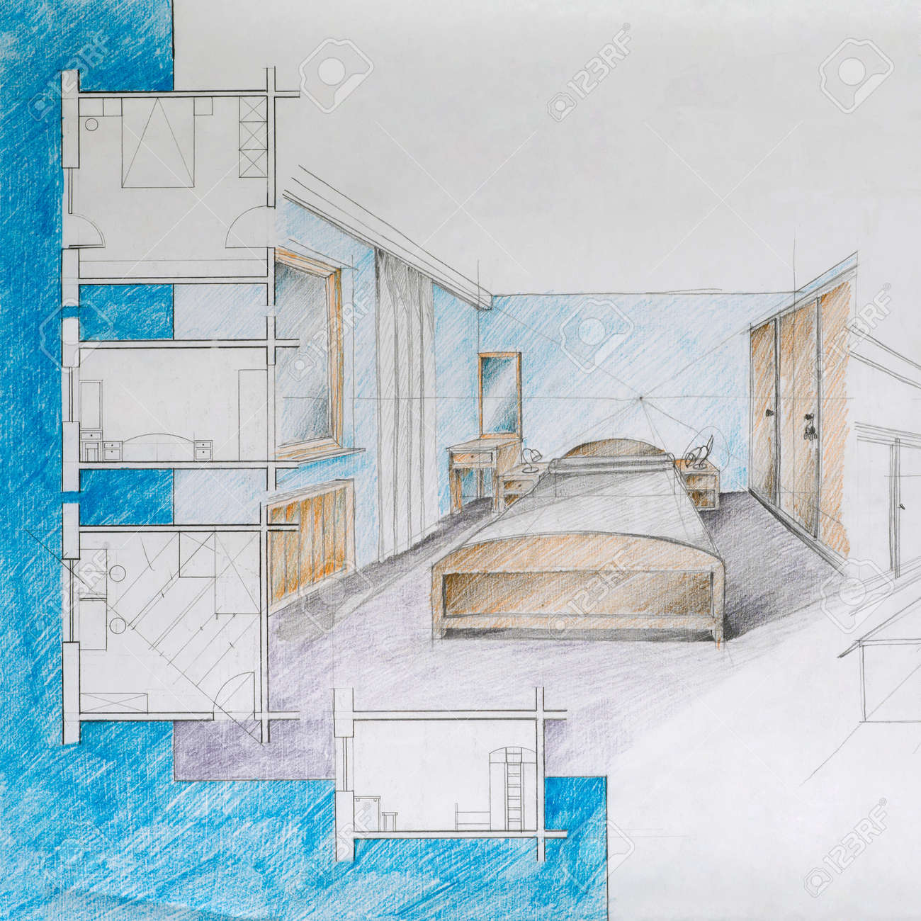 Graphic illustration and architectural blueprint of an apartment graphic illustration and architectural blueprint of an apartment bedroom with colorful pencils stock illustration malvernweather Image collections