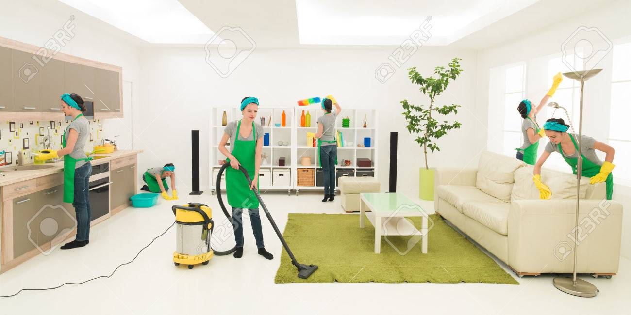 same woman cleaning living room, digital composite image - 36920118