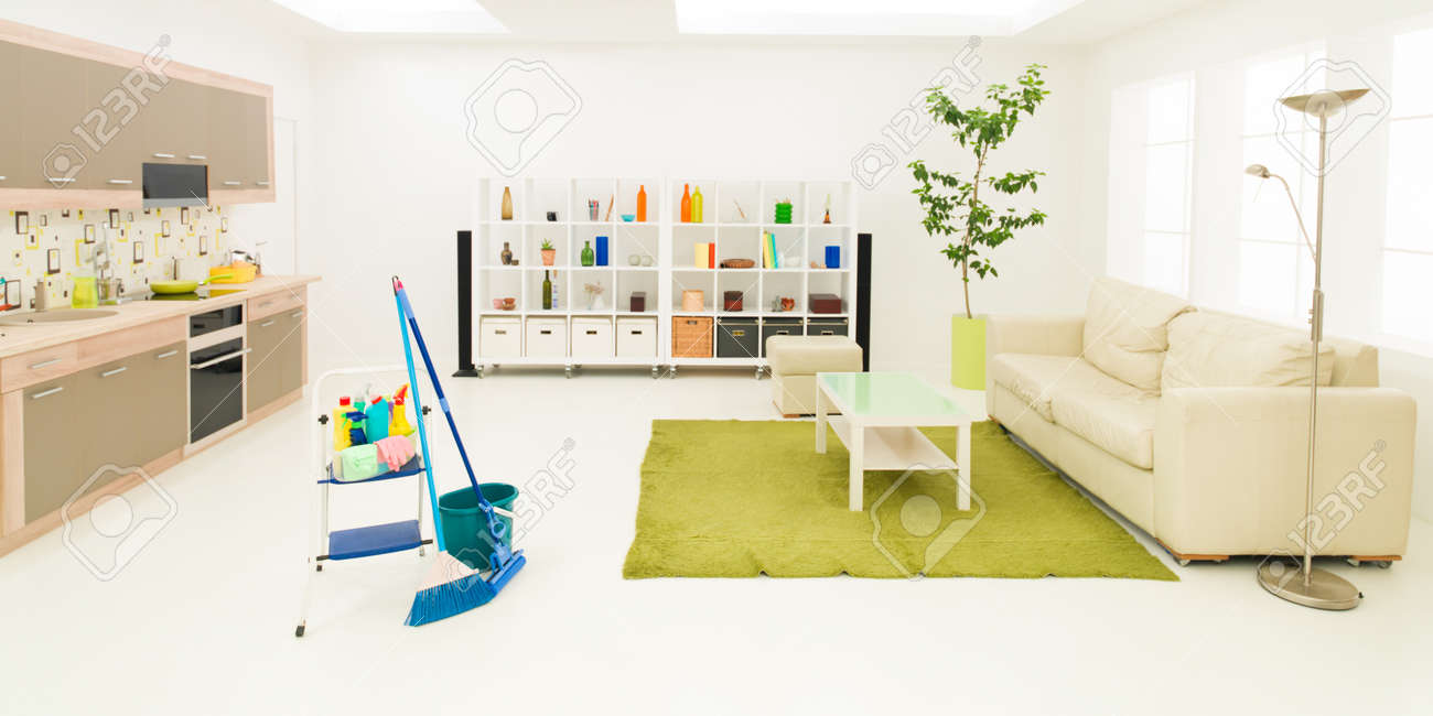 Cleaning Supplies In Clean Modern Living Room Stock Photo, Picture ...
