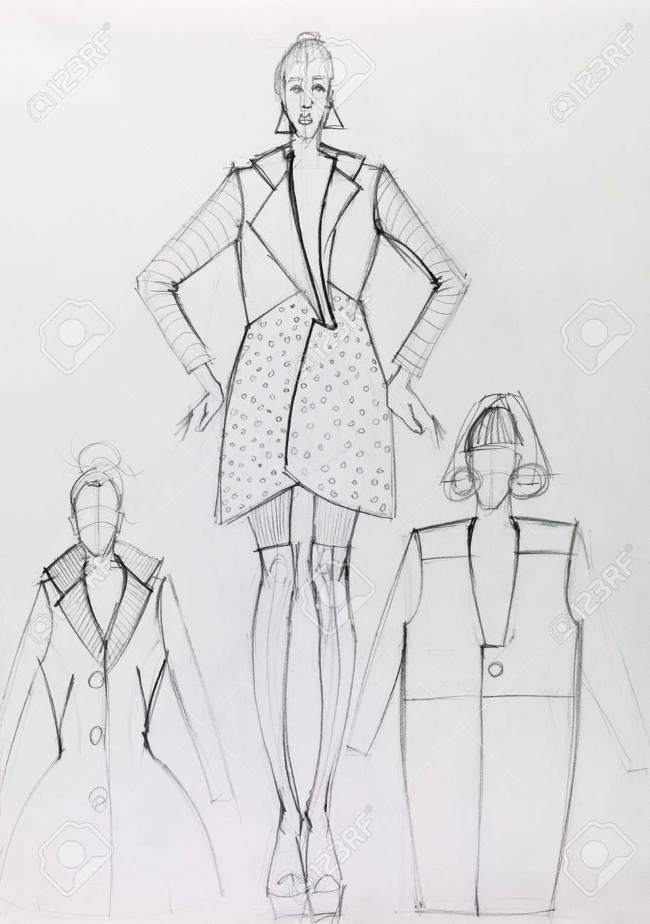 Schwarz-Weiß-Hand Gezeichnete Mode-Design Skizze Lizenzfreie Fotos ...