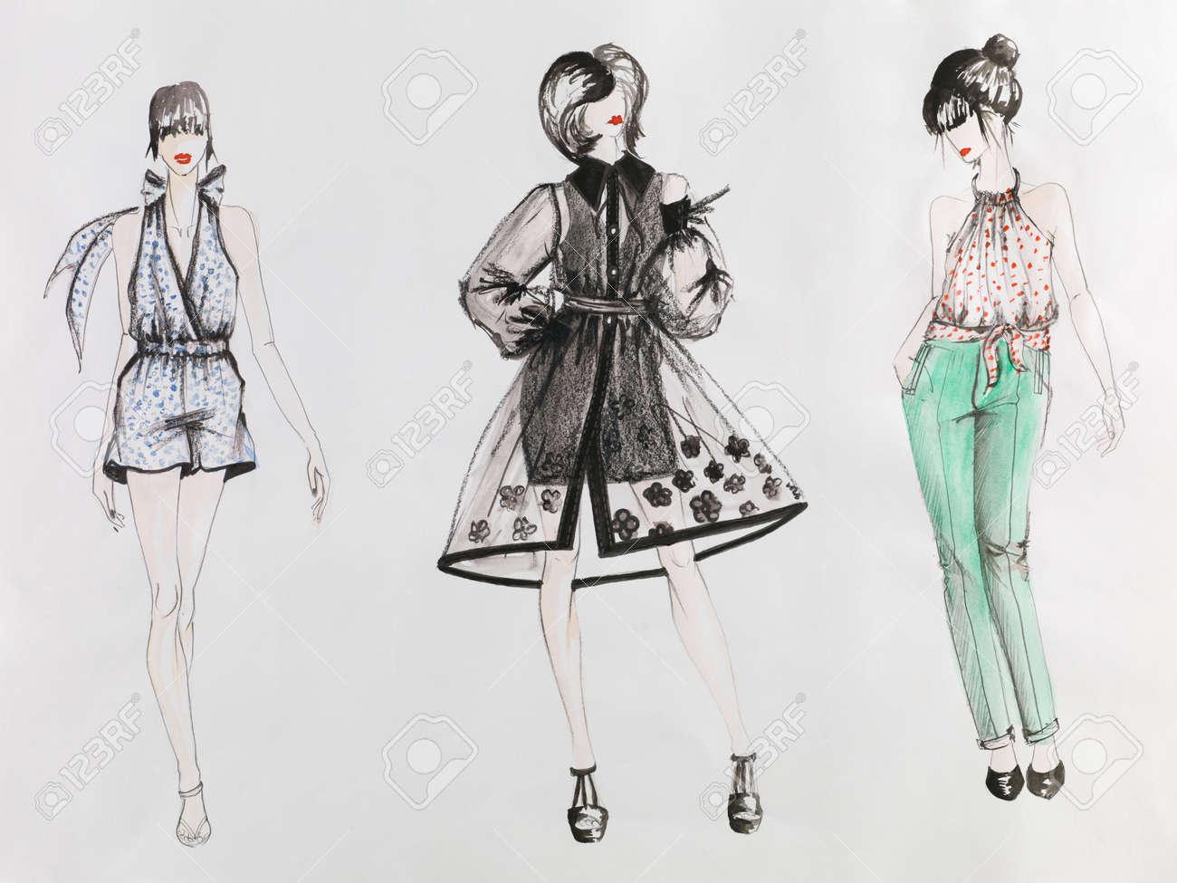 9f9ef1efd Boceto dibujado a mano de la moda. mujeres con vestidos de colores. dibujo  acuarela