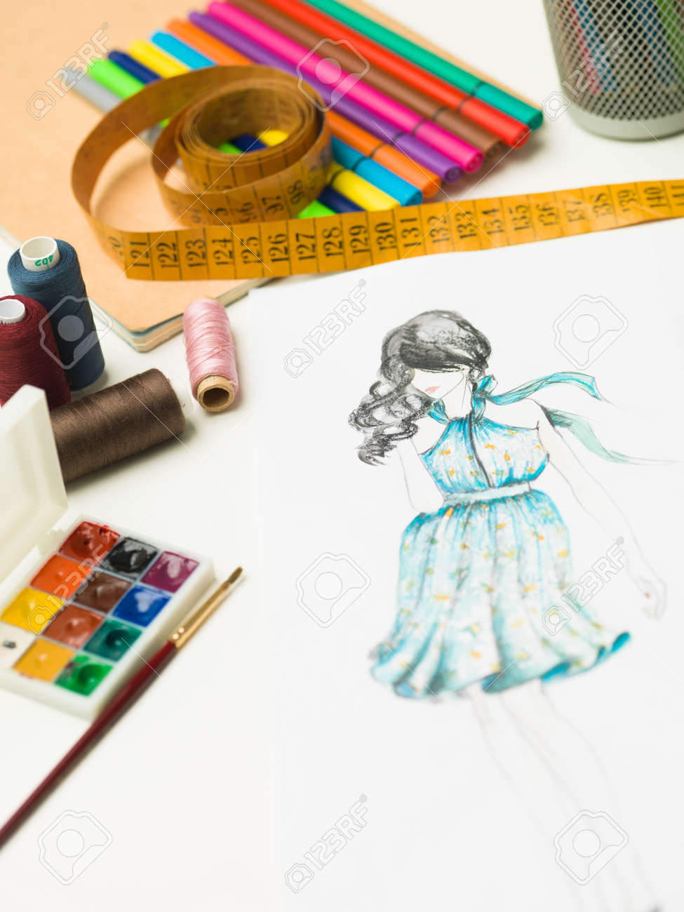 Closeup Of Fashion Designer Workspace With Sketches And Designing Stock Photo Picture And Royalty Free Image Image 37602779