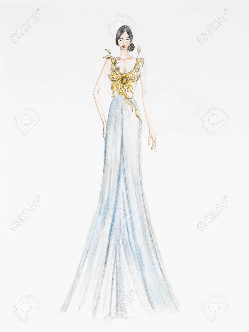 Fashion Design Drawing. Luxurious Evening Gown Stock Photo, Picture ...