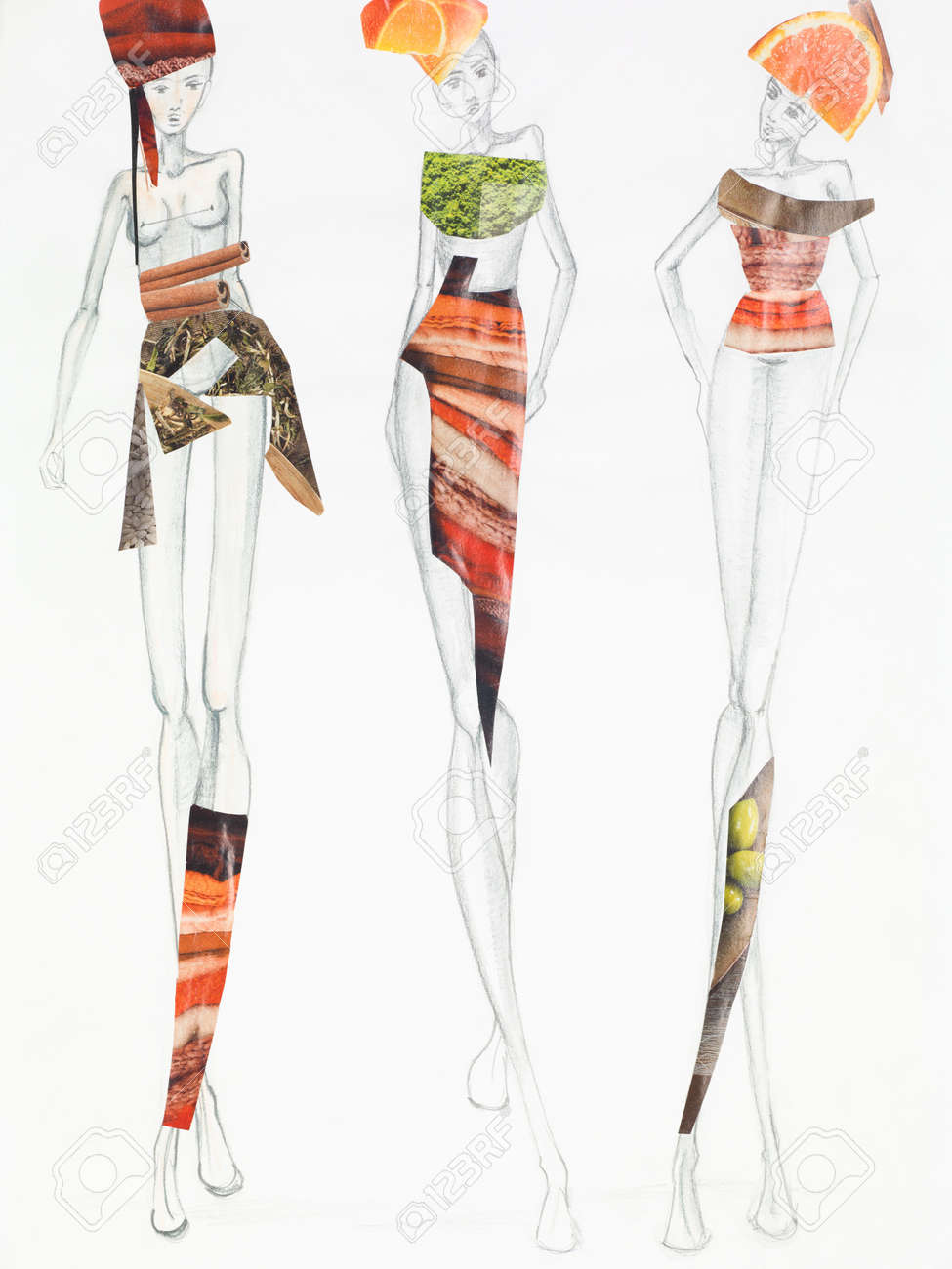 Pencil sketch with models wearing clothing made out of fruits and patterns cutout from magazines