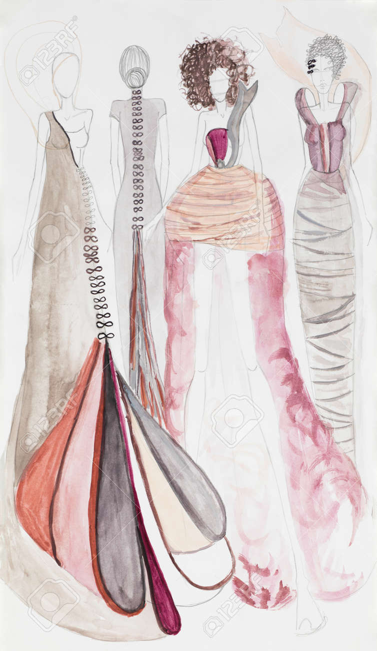 Victoriana Con En Época Inspirados Bosquejo Diseño De Moda Vestidos La Del wkP8nO0