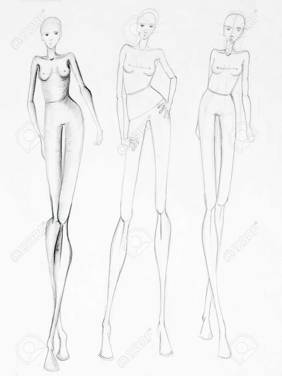 Fashion sketch of beautiful slim nude women silhouettes pencil drawing stock photo 38070698