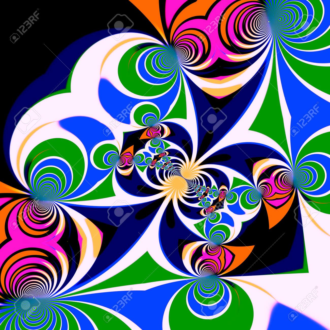 Psychedelic Style Background. Illustration Design. Symmetrical ...