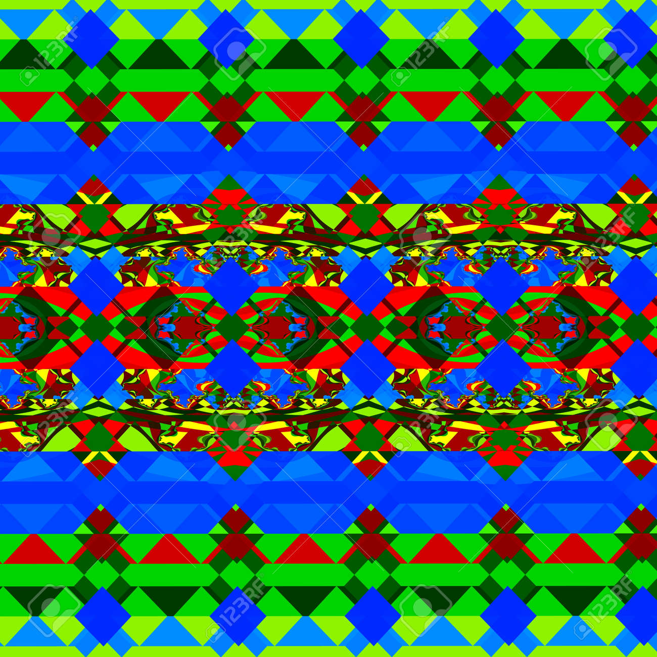 Psychedelic Green And Blue Shapes. Odd Style Artwork. Loony Tile ...