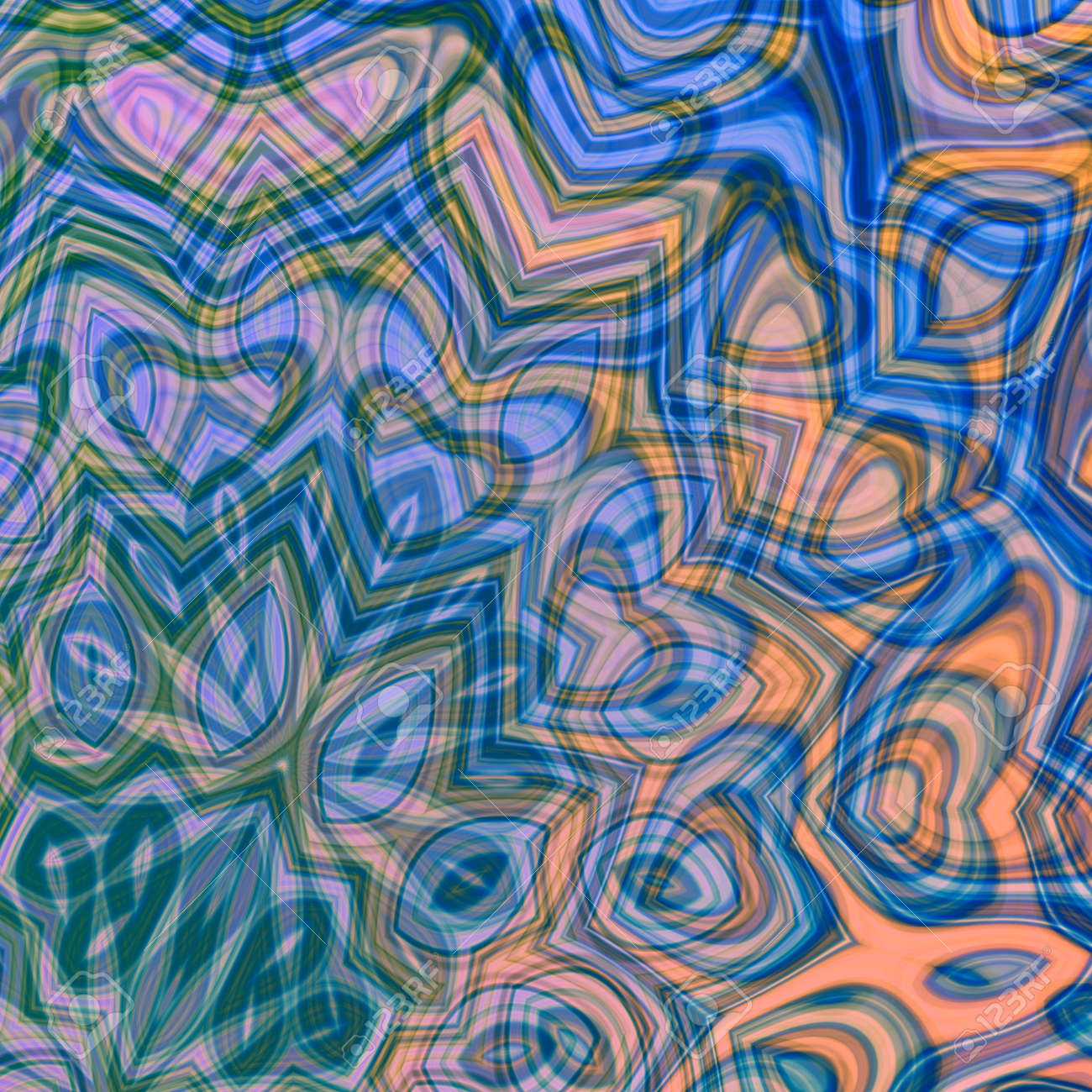 Psychedelic Colorful Art Background Illustration. Computer ...