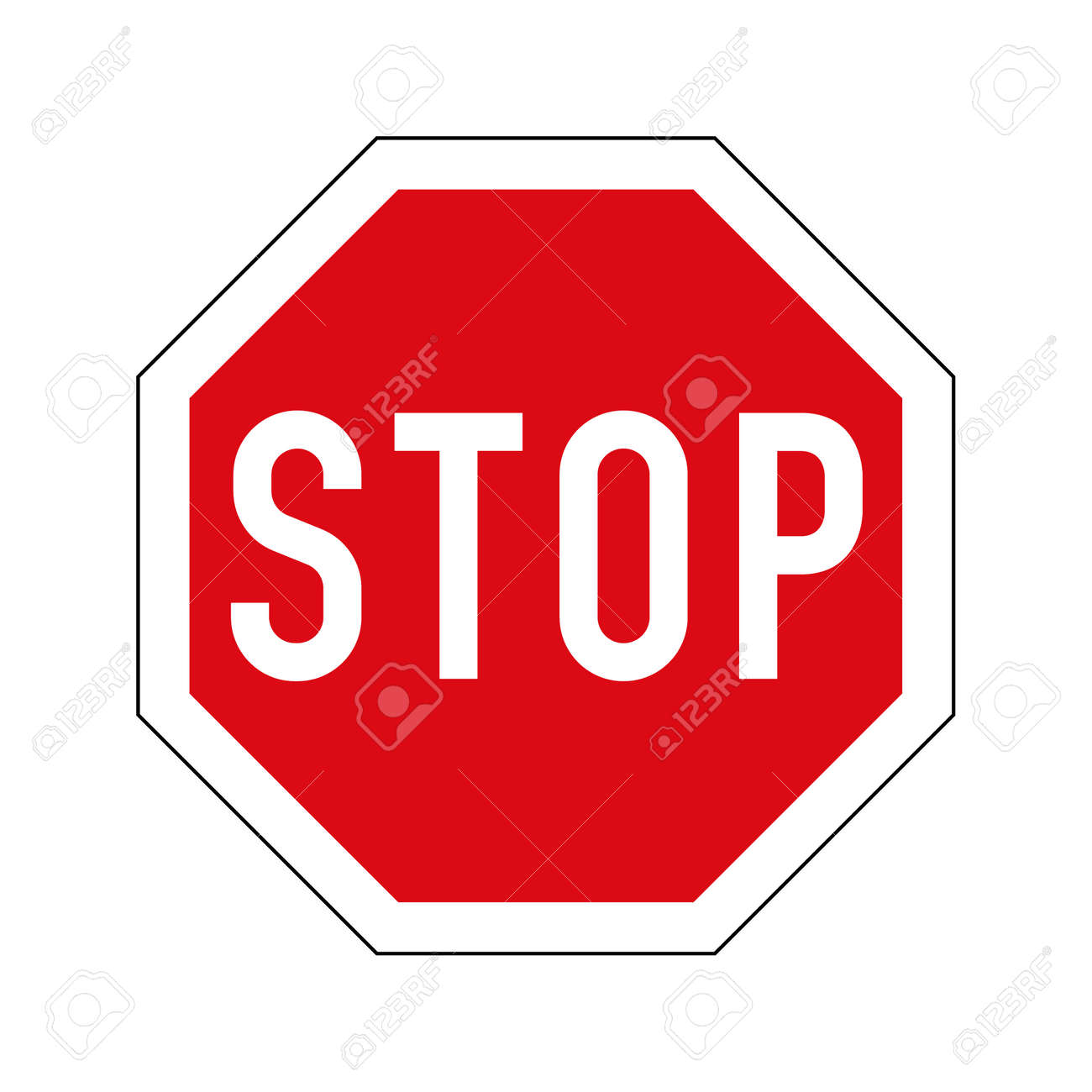 European variant of stop road sign. Red octagon with white border and stop text. - 154276961