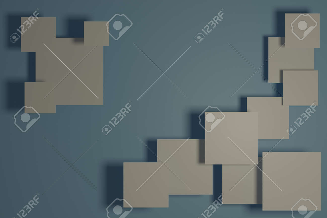 Abstract gray background with floating white squares - 169658244
